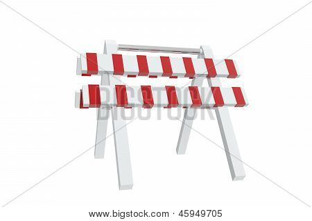 Red and white barrier on white background poster