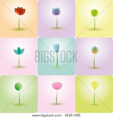 Colorful Flowers, abstract Icons for background