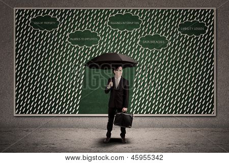 Businessman hold Umbrella To Protect Business Loss