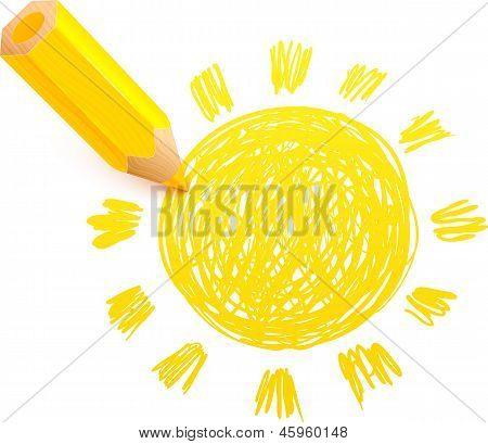 Yellow cartoon pencil with doodle sun