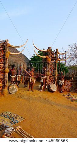 Zulu warriors in Shakaland Zulu Village, South Africa