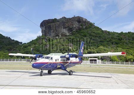Winair DHC-6 aircraft ready to take off at St Barts airport