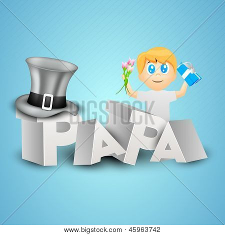 Concept for Happy Fathers Day celebration with 3D text Papa and little boy holding gift box and flowers on blue background. poster