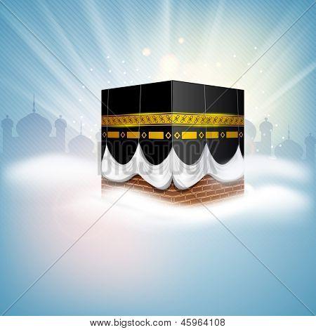 Beautiful View of Qaba Shareef on shiny rays background.