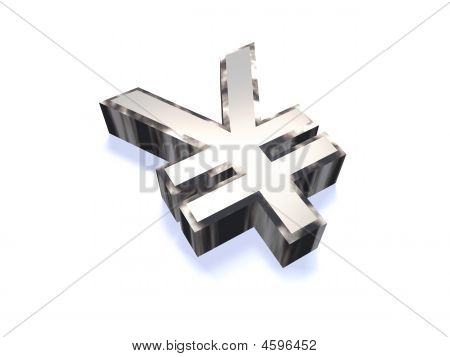 3D Chrome Yen Symbol