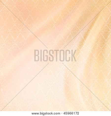 Abstract Vector Wedding Fabric Silk Background with seamless antique lace textile pattern wave drapery in shades of pastel colors. Can be used for wedding greeting invitation backdrop design poster