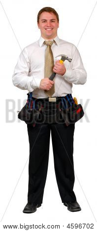 Businessman With Tool Belt And Hammer
