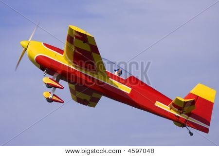An Rc Model Airplane Close Up Photo Pulling Out Of A Dive