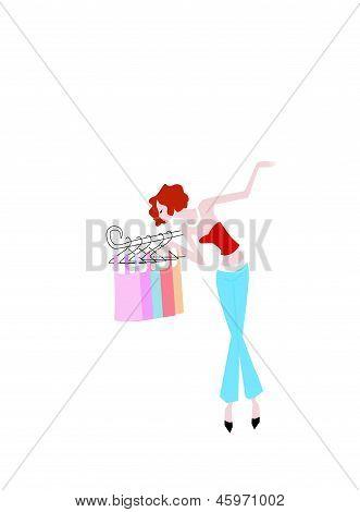 Fashion shopping woman-illustration art