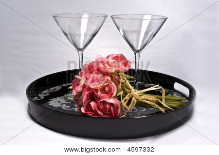 Tray And Cocktail Glasses
