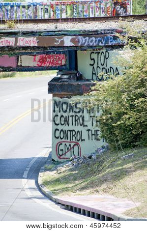 PENSACOLA, FL - 25 MAY: 17th Avenue bridge overpass in Pensacola, FL is painted with graffiti to support the worldwide