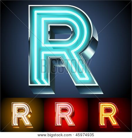 Vector illustration of realistic neon tube alphabet for light board. Gold and Silver and Red options. Letter R