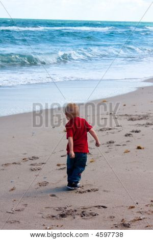 Boy Throwing Rocks In Ocean