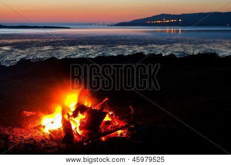 Roaring Bonfire At The Beach
