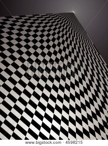Checker Pattern In Perspective - Vector Illustration