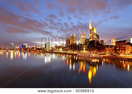 Panorama of Frankfurt am Mine at night, Germany