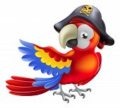 A red parrot cartoon wearing a pirates hat and eye patch and pointing with his or her wing poster