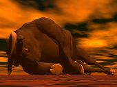 Big bull lying on the floor dying in red background poster