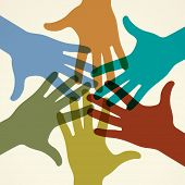 Colorful raised hands. The concept of diversity. Group of hands. Giving concept. This work - eps10 vector file, contain transparent elements poster
