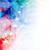 4th of July, American Independence Day colorful background with shiny stars. poster