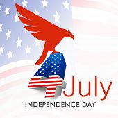 4th of July, American Independence Day concept with silhouette of national bird eagle on waving national flag background. poster