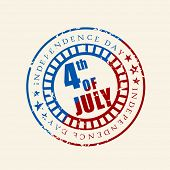 Blue and red rubber stamp for 4th of July, American Independence Day on brown background. poster