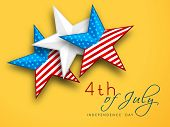 4th of July, American Independence Day concept with stars on yellow background. poster