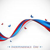 4th of July, American Independence Day concept with national flag colors waves and flying butterflies on abstract grey background. poster
