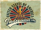 Vintage flyer, poster or background for United Sates America independence day with text 4th July. poster