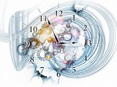 Gears clock elements dials and dynamic swirly lines arrangement suitable as a backdrop in projects on scheduling temporal and time related processes deadlines progress past present and future poster