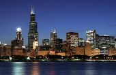 Beautiful Chicago city skyline just after sunset poster