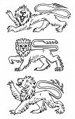 Powerful lions and predators for heraldry design poster