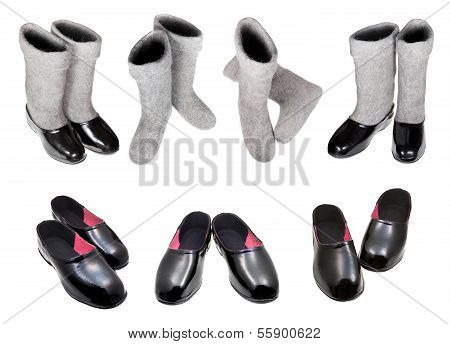 Knee-high Felt Boots And Black Rubber Galosh