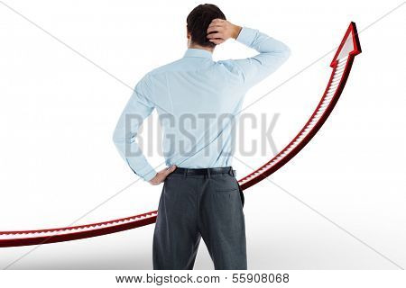 Thinking businessman with hand on head against red ladder arrow graphic