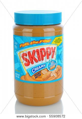 IRVINE, CA - JANUARY 11, 2013: A 48oz. plastic jar of Skippy Creamy Peanut Butter. Introduced in 1933 Skippy is the 2nd most popular Peanut Butter in the world.