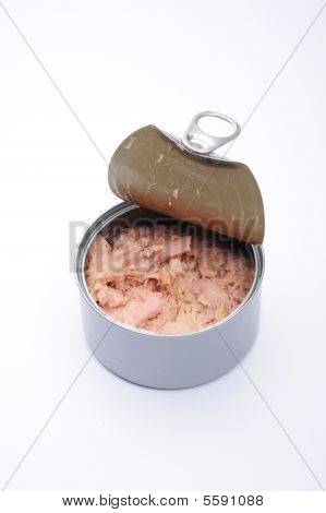 Tuna food can with lid open showing the ring pull no label. poster