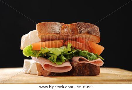 Ham, Lettuce And Tomato Sandwich