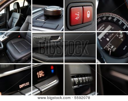 A modern luxury car interior details collage poster