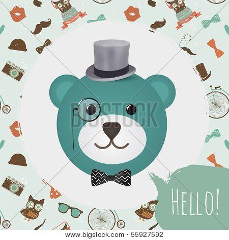 Hipster Bear Head Card vector illustration