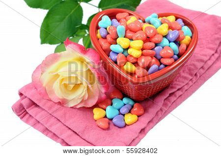 Valentine Decoration With Rose And Sweet Candy