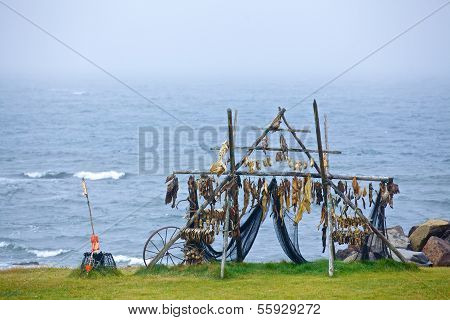 Trestles for hanging up fish to dry.
