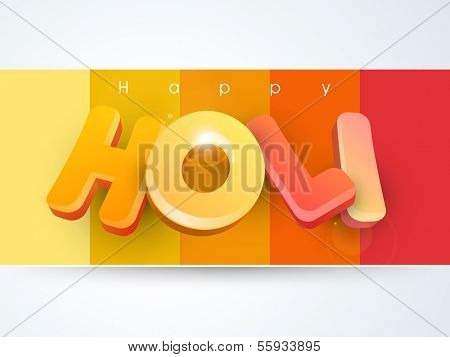 Indian color festival Holi background with buckets with full of colours and pichkari (colour gun) on splash background.  poster