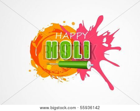 Indian color festival Holi celebration concept with stylish text, pichkari and colours splash on grey background.