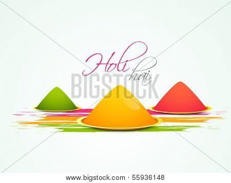 Indian festival Happy Holi celebration concept with colors and pichkari (colour gun).