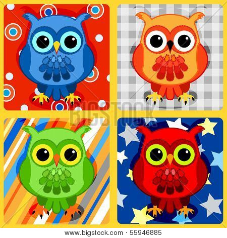 Seamless patchwork pattern with colorful owls on plaid stripes bubbles and stars poster