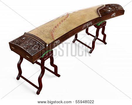 Wooden dulcimer traditional musical instrument.