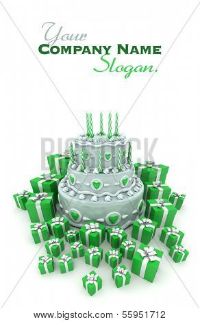 3D rendering of a three tiered cake with candles surrounded by gift boxes