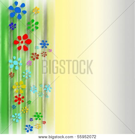 Abstract Background With Flowers And Courtain