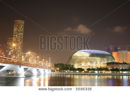The Marina Bay skyline at night. Singapore