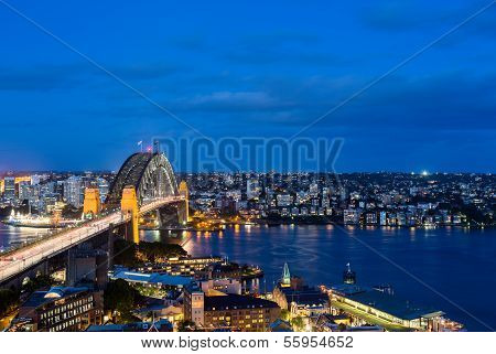 Dramatic Panoramic Night Photo Sydney Harbor